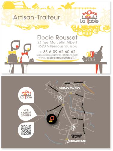 Carte de visite Les pieds sous la table (Aude) Villemoustaussou